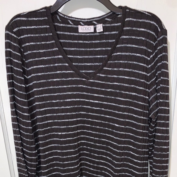 LOGO by Lori Goldstein brown striped tunic Large
